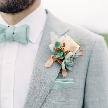 Grooms boutonniere with Rose & Succulent | by Tobey Nelson Events + Design | image by O'Malley Photography