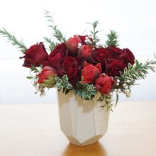Red rose arrangement for Valentine's Day on Whidbey Island