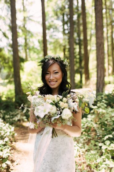 brie with flower crown and bridal bouquet