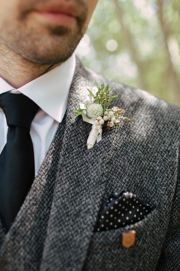 grooms boutonniere with herbs and eucalyptus | tobey nelson events