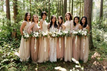 bride and bridesmaid bouquets at Fireseed Catering woodland greenery wedding