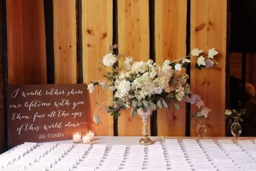 welcome flower arrangement with escort cards