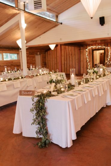 wedding tables with foliage runners for fireseed catering wedding