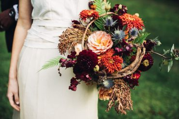 bridal bouquet with Dahlia and Garden Rose