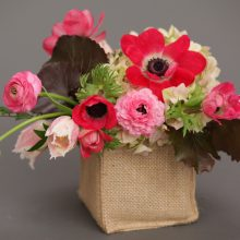 Spring arrangement with Anemone and Ranunculus for Whidbey Island Flower delivery