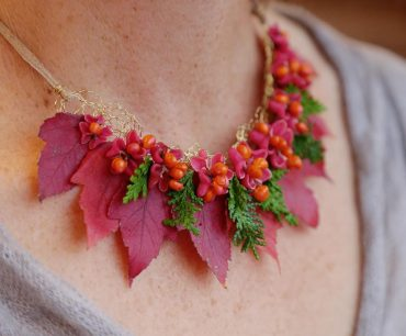 flower jewelry necklace with maple leaves and cedar
