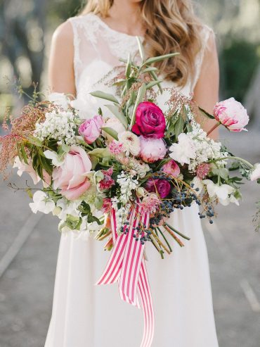 bridal bouquet features locally and california grown flowers