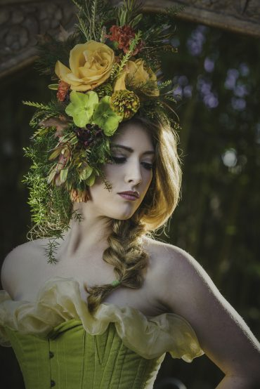 Botanical headpiece by Tobey Nelson Events | image by Suzanne Rothmeyer Photography | MUA by Marqui Artistry