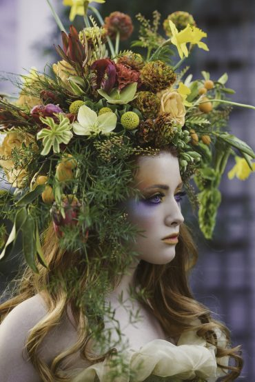 Botanical headpiece for creative concept shoot by Tobey Nelson Events | image by Suzanne Rothmeyer Photography | MUA by Marqui Artistry
