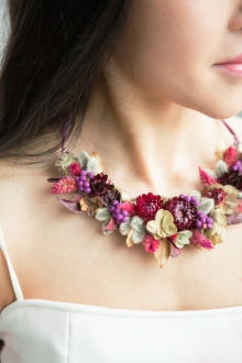 Floral necklace made with real flowers for a bride or bridesmaid