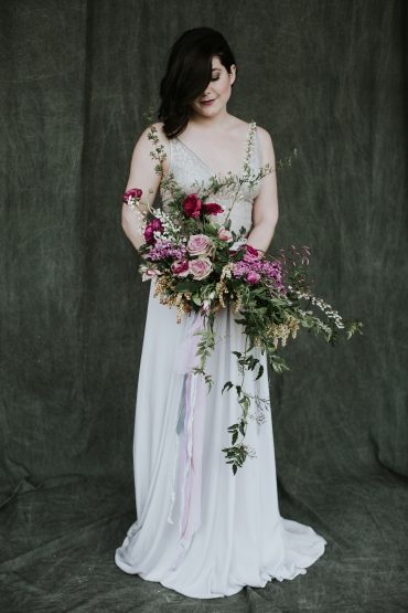 Bridal bouquet made at Whidbey Flower Workshop with Rose, Ranunculus and spring blooms