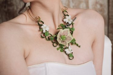 Hellebore and greens make this living flower necklace