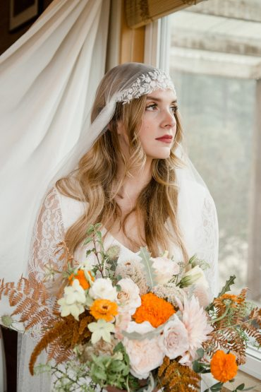 Bohemian Bridal bouquet wth marigolds, Fern and wildflowers   Wedding Flowers by Tobey Nelson Events   image by Martin Stelling