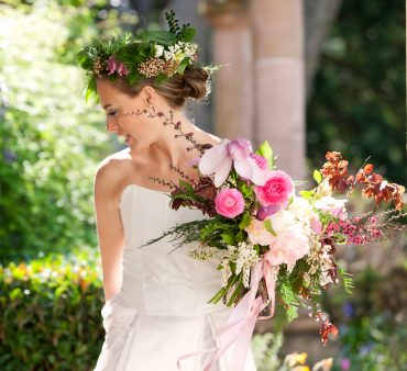 Bridal bouquet and flower crown with seasonal spring flowers | Tobey Nelson Events + Design | image by Kim Nowell