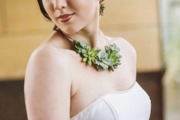 Succulent plant necklace