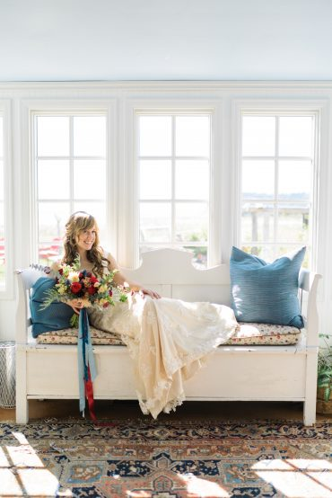 Whidbey Island bride with bohemian bouquet