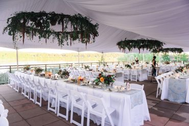 floral chandeliers in a tented wedding on Whidbey Island