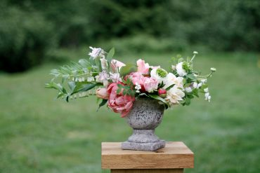 Seasonal spring flower centerpiece with Tulip, Peony, Ranunculus | Tobey Nelson Events + Design | image by Emily Wandres