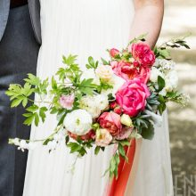 Spring bridal bouquets with Peony, Ranunculus, Bleeding heart
