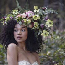 Floral headpiece with spring flowers by Tobey Nelson | Botanical Couture | Wearable Flowers | Floral Art