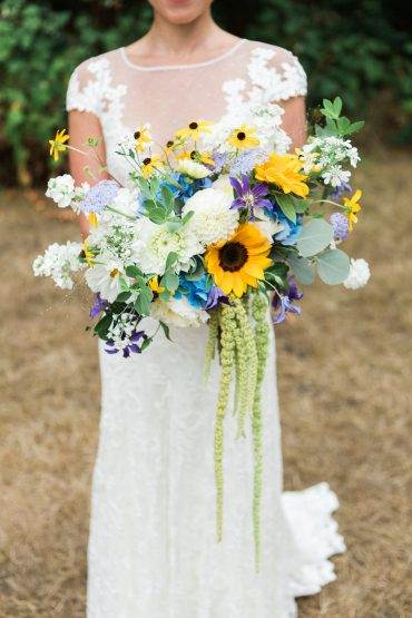 summer wedding flowers include locally grown sunflowers, hydrangea and dahlia