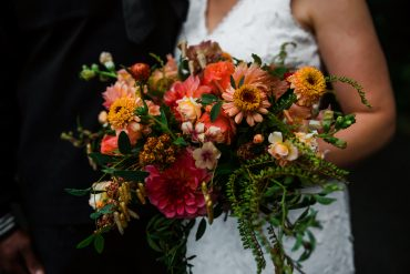Bridal bouquet for Whidbey Island military wedding destination elopement | Summer garden flowers include Dahlia, Zinnia, Amaranth, Rose, Strawflower, Lisianthus | Whidbey Island wedding flowers by Tobey Nelson | image by Aly Willis Photography