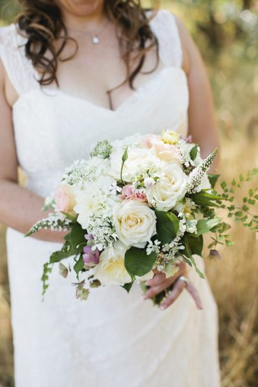 Bridal bouquet with Garden Roses and Dahlias for a Whidbey Island Wedding | Floral design by Tobey Nelson Events