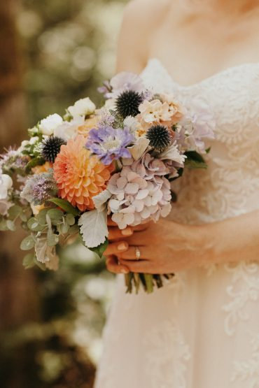 Small and simple bridal bouquet with locally grown Dahlia, Hydrangea, Scabiosa, Dusty Miller | by Tobey Nelson Events
