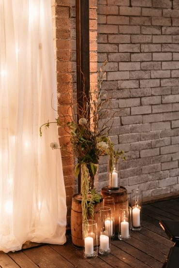 Romantic lighting for seattle gay wedding ceremony