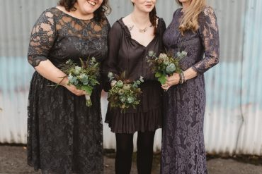 Edgey textural bridesmaid bouquets