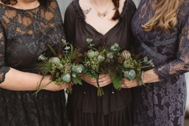 bridal party bouquets feature foliage, grasses, succulents and pods