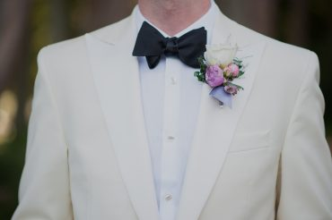 Groom's boutonniere in lavender and blush | Fireseed Catering wedding flowers and planning by Tobey Nelson Events