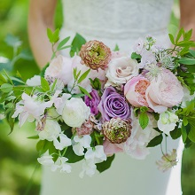 Bridal bouquet with blush Peony, lavender Rose and vintage Ranunculus