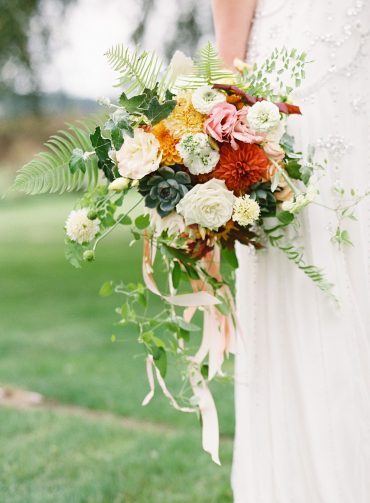Summer bridal bouquets with Rose, Dahlia, Succulents and trailing silk ribbon