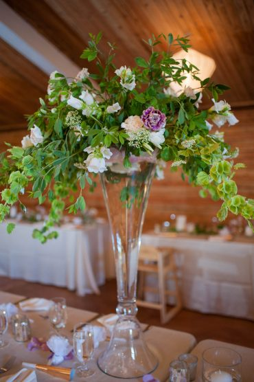 elevated centerpiece in green and lavender