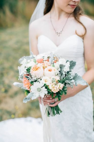 silver, peach and white bridal bouquet for Whidbey Island wedding