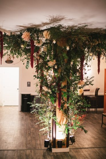 Floral Installation by Whidbey Island Florist Tobey Nelson at Fireseed Catering
