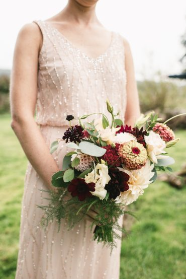 Bridesmaid bouquet with Dahlia and Zinnia | Tobey Nelson Events + Design | Image by The Manchiks