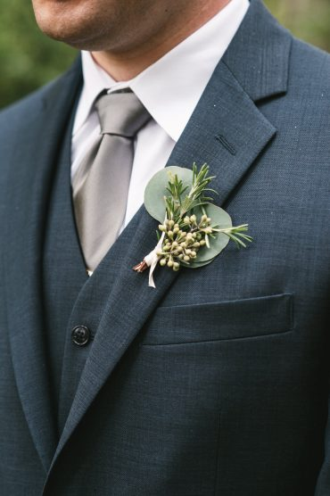 Groom's foliage boutonniere with Eucalyptus and Rosemary | Tobey Nelson Events + Design | Image by The Manchiks