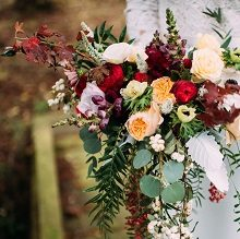 bridal bouquet in marsala and blush