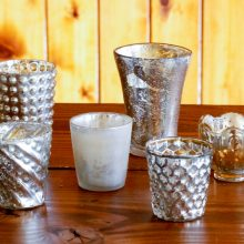 Whidbey Island wedding rentals Mercury glass votive holders