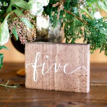 Whidbey Island wedding rentals wood table number