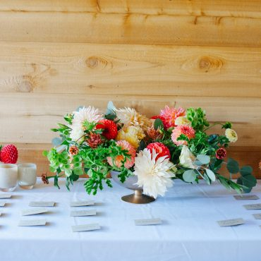 welcome centerpiece with Dahlias and late summer flowers