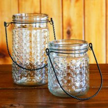Hanging hobnail jars for rent on Whidbey Island