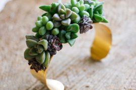 Living jewelry flower bracelet with Succulents by Tobey Nelson