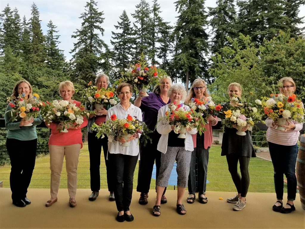 Students of Petals and Pours Whidbey Island Flower workshop