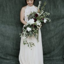 Bridal bouquet by Whidbey FLower Workshop student Fire and Blooms