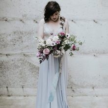 Bridal bouquet made by Passionflower Sue teaching at Whidbey FLower Workshop | gown by Frankie & Maude