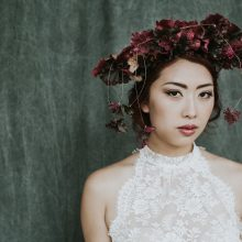 Coral bell flower crown by Mimulo at Whidbey Flower Workshop