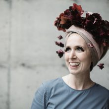 Heuchera leaf headpiece by Mimulo at Whidbey FLower Workshop